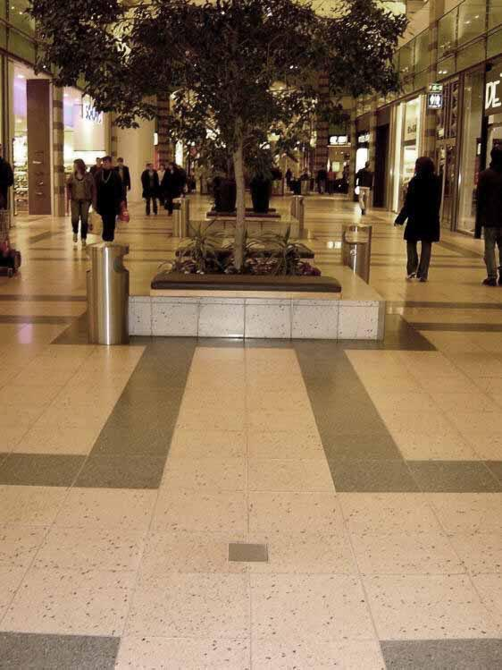square stainless steel floor receptacles for shopping malls