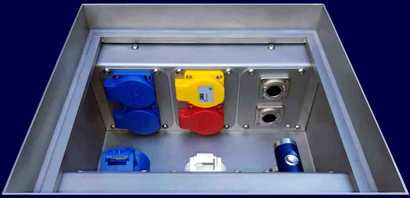 Floor-Tank small type TELGTE, up to 12 sockets, data sockets or compressed air connectors